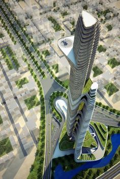Project - Father and Son Skyscraper - Architizer. Utilizing the landscape and existing environment. Built in two parts on ground.