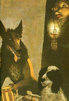 Jiri Trnka - Folk and Fairy Tales from Bohemia - Wolf    Folk and Fairy Tales from Bohemia  Published by Hamlyn in 1973  Translated from Czech by Alice Denesova