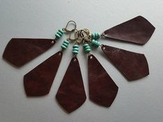 Brown Leather Earrings / Wholesale Earrings / Turquoise &