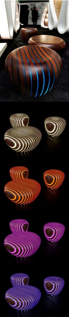 Bright Woods Collection by Giancarlo Zema for Avanzini Group. love this pairing of wood and translucency, we have done some wall features with wood/resin/light. these furniture objects play up the curves well. - Led strips and layered wood/plexi glass
