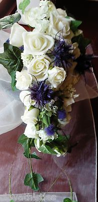 STUNNING SCOTTISH WEDDING IVORY ROSE, IVY AND SEA HOLLY BOUQUET FOR BRIDE. My Perfect Wedding, Our Wedding Day, Wedding Stuff, Wedding Ideas, Gretna Green Wedding, Wedding Bells, Wedding Flowers, Scottish Weddings, Thistle Wedding
