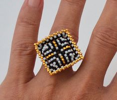 Tutorial Cubico Rings Beading Tutorial Jewelry Tutorial by Ellad2