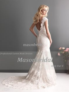Wholesale 2013 Mermaid Lace Wedding Dresses Cap Sleeve Backless Deep V Back Chapel Train Bridal Gowns, Free shipping, $170.73-188.47/Piece | DHgate