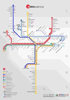 Official Map: Metrovalencia, Valencia, Spain, 2015 The opening of Metrovalencia's new Line 9 in March 2015 led to both a restructuring of the previous network (renumbering and rerouting of some lines). Bus Travel, Travel Tips, Singapore Map, Bus Network, System Map, Underground Tube, Metro Map, Tramway, Valence