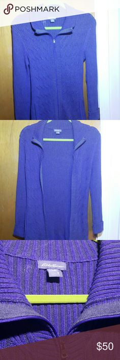 Eddie Bauer zip-up sweater Purple/blue zip-up campfire sweater PERFECT CONDITION barely ever worn! Warm and comfy! Perfect for winter, spring, fall, summer nights! Eddie Bauer Sweaters