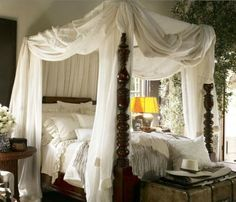 A Walk in the Countryside: British Colonial / West Indies Bedrooms. i think its safe to say, everybody would love to spend a night in a four poster bed, and definatly one that looks so elegant and cosy.