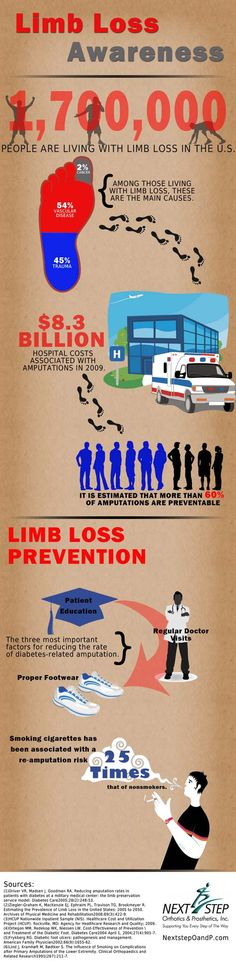 Limb Loss Awareness & Prevention. Learn more: http://www.nextstepoandp.com #amputee #prosthetics
