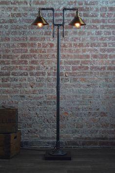 Handmade Floor Lamp Industrial Floor Lamp by newwineoldbottles