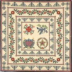Sweet Land of Liberty. A gorgeous Baltimore Album quilt. Sampler Quilts, Appliqué Quilts, Antique Quilts, Vintage Quilts, Sewing Machine Quilting, Quilting Frames, Medallion Quilt, Patriotic Quilts, Flower Quilts