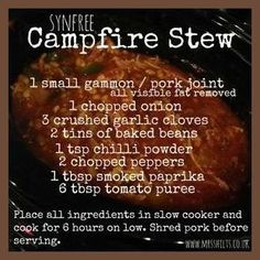 Slimming I love preparing a meal for the slow cooker knowing that when I get home from work later that day, the dinner should be ready to serve. This campfire stew is a fantastic winter warming meal that the whole family… Slow Cooker Slimming World, Slimming World Dinners, Slimming World Recipes Syn Free, Slimming World Syns, Slimming Eats, Slimming World Lunches Work, Campfire Stew Slimming World, Actifry Recipes Slimming World, Diet Recipes