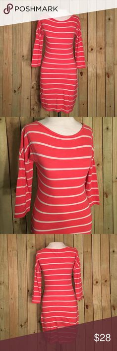 Express pink and white striped dress Tee shirt dress with thick and thin straps! Three quarter length sleeves. Size xs but could fit a small Express Dresses Midi