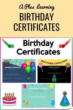 Birthday Certificate, Student Birthdays, Student Awards, Wish Come True, Elementary Education, Feeling Special, 10th Birthday, My Teacher, Back To School