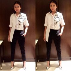 Pants Party: Anushka Sharma shows us how to nail party dressing without wearing a dress! School Fashion, Fashion Wear, Trendy Fashion, Fashion Dresses, Trendy Style, Western Dresses, Western Outfits, Celebrity Outfits, Celebrity Style