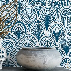 Blue bohemian scallops removable wallpaper / cute self