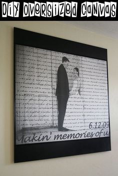 DIY Oversized Canvas with wedding song lyrics