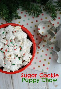 Sugar cookies meet Puppy Chow (aka muddy buddies) and make a delightfully sweet and crunchy treat that you can enjoy for yourself or share with family and friends!
