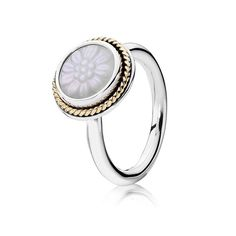 Daisy Signet Stackable Ring, Mother Of Pearl - Pandora US | PANDO