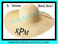 Love This Life! in a fabulous monogrammed Floppy Hat! An absolute must-have for the pool, beach, or just to look sassy and super cute while shopping! You cannot go wrong with these floppy hats, whether for you or for a gift for  ... bridesmaids, graduates, teachers, nurses, sorority big/lil sisters, etc. Available in Natural (shown), Mint, Black, Coral, Navy, White, Yellow, & Hot Pink. $22 including Monogram!!! @ www.twistedpapertini.com OR https://www.etsy.com/shop/TwistedPapertini .