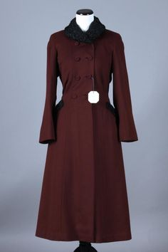 S/M 40s Vintage Barbette Red Wine Wool Princess Coat w/ Persian Lamb Fur Collar. A gorgeous vintage coat with a slimming silhouette in a lovely shade of red wine - appears unworn with the tag still attached!  $225 via eBay