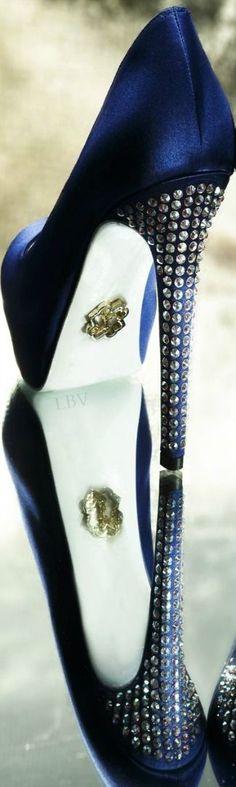 Philipp Plein ~ Indigo Blue Satin Platform Pump w Swarovski Crystal Studs