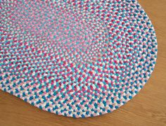 Candy Pink & Blue Handmade Braided Rag Rug-I love how the colors came together in this ruq!