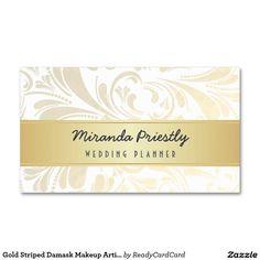 Goldgestreifte Damast-Maskenbildner-Visitenkarten Visitenkarten