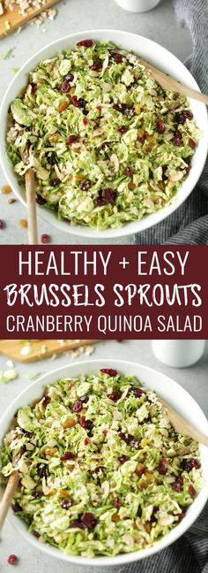 Easy shredded brussels sprouts, cranberry & quinoa salad with creamy orange hemp dressing. Minimal ingredients, flavorful and perfect for a healthy side dish for the holiday season! Nutritionalfoodie.com