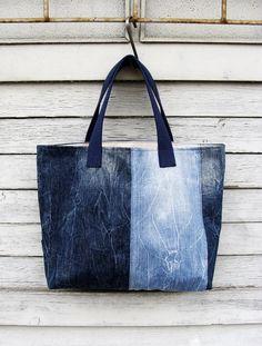 Denim Tote Bag 4  upcycled vegan bag jeans bag by Nudakillers