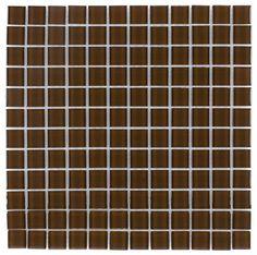 Glass Mosaic Tile Backsplash Coffee 1x1