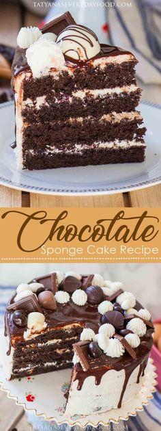 Chocolate Sponge Cake Recipe - Tatyanas Everyday Food #foodrecipes