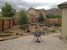 Paver patio and pond