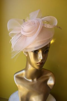 Blush hat - perfect for a wedding guest, bridesmaid or a bride!