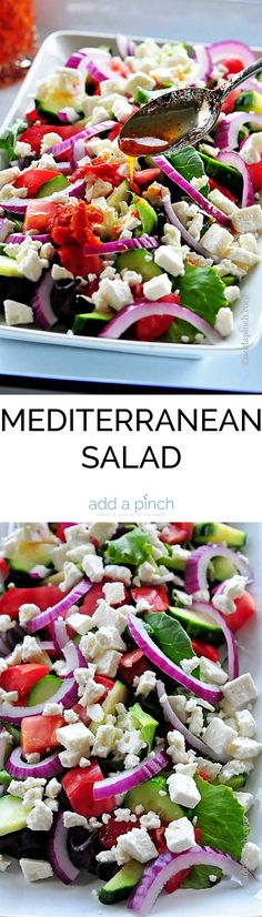 Mediterranean Salad makes a delicious recipe for a light meal or as a side dish when entertaining. Get this easy, elegant Mediterranean Salad recipe. // addapinch.com