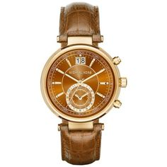 Michael Kors Amber Womens Gold-Tone Croco Embossed Sawyer Watch -... ($275) ❤ liked on Polyvore featuring jewelry, watches, amber, goldtone jewelry, crocodile jewelry, amber jewelry, michael kors and dial watches