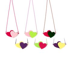 APPLE PIE JEWELLERY HEART NECKLACE KAWAII big KITCH retro BABY LOVE - DOUBLE HEARTS - BFF - ACRYLIC NECKLACE - FUNKY - GOTH - TATTY DEVINE - PERSPEX - LOVE PENDANT - KIDS - TWEEN - TEENAGERS - KATY PERRY
