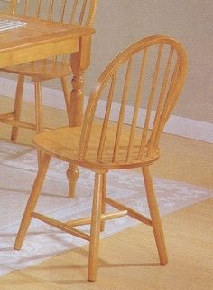 Set of 4 Oak Finish Windsor Country Style Wood Dining Chair/Chairs by Acme Furniture