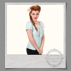 #Short #sleeve #blouse with #contrast #polka #dots #collar and front #tie
