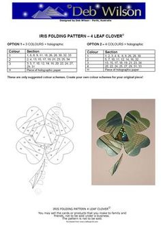 4 Leaf Clover Iris Folding pattern on Craftsuprint designed by Deb Wilson - Make a great 'good luck' card..... - Now available for download!