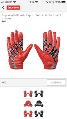 Supreme Nike Vapor Jet 4 0 Football Gloves Football Gloves Gloves Nike Vapor