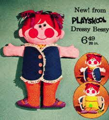 If I could have a do-over from my childhood, it would have to be when I accidentally ripped my sister's Dressy Bessy doll...In my mind, it's what drove a wedge between us. i'm sad about that. Playschool 20 inch doll Dressy Bessy  From The 1970s