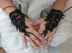 Wedding Bridal Glove, black lace gloves, Fingerless Glove,