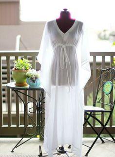 White Cotton Gauze Maxi Muumuu Dress,  Dress, muumuu  caftan  kimono  cotton gauze  beach, Bohemian (Boho) / Hippie