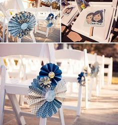 Handmade pinwheels add a whimsical touch to ceremony chairs. Wedding Chair Decorations, Wedding Chairs, Paper Decorations, Paper Rosettes, Paper Flowers, Paper Pinwheels, Diy Flowers, Blue Flowers, Aisle Markers
