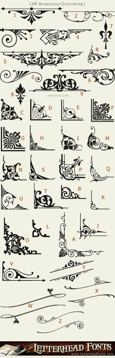 Letterhead Fonts / LHF Americana Ornaments font set / Panels and Ornaments