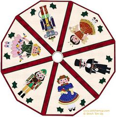 Christmas tree skirt starring Clara, the Sugar Plum Fairy, the Mouse King, the Nutcracker, and others from Tchaikovsky's ballet. Nutcracker Sweet, Nutcracker Christmas, Christmas Store, Christmas Angels, Christmas Crafts, Christmas Decorations, Miniature Christmas, Christmas Ideas, Xmas
