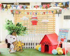Party backdrop from a Peanuts + Snoopy Birthday Party on Kara's Party Ideas | KarasPartyIdeas.com (37)
