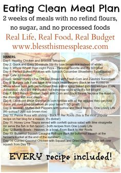 Oooh! My friend Melissa put together a two-week meal plan. I like it when people do the menu-planning work for me.