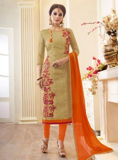 Straight Cut Cotton Fabric Beige Salwar Suit With Thread Work Latest Salwar Kameez, Churidar Suits, Embroidery Suits, Embroidery Fashion, Hand Embroidery, Salwar Neck Designs, Blouse Designs, Indiana, Gala Design