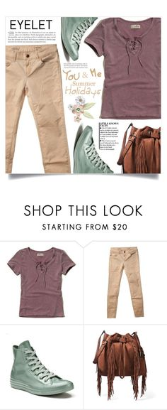 """""""Peek-A-Boo: Eyelet"""" by dolly-valkyrie ❤ liked on Polyvore featuring Hollister Co., Rich & Royal, Converse, Diane Von Furstenberg and eyelet"""