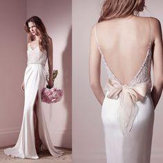 2015 Real Delicate Lihi Hod Bridal Gown Sheer Bodice Beaded Belt Spaghetti Straps V Neck Backless Sheath Slit Wedding Dresses